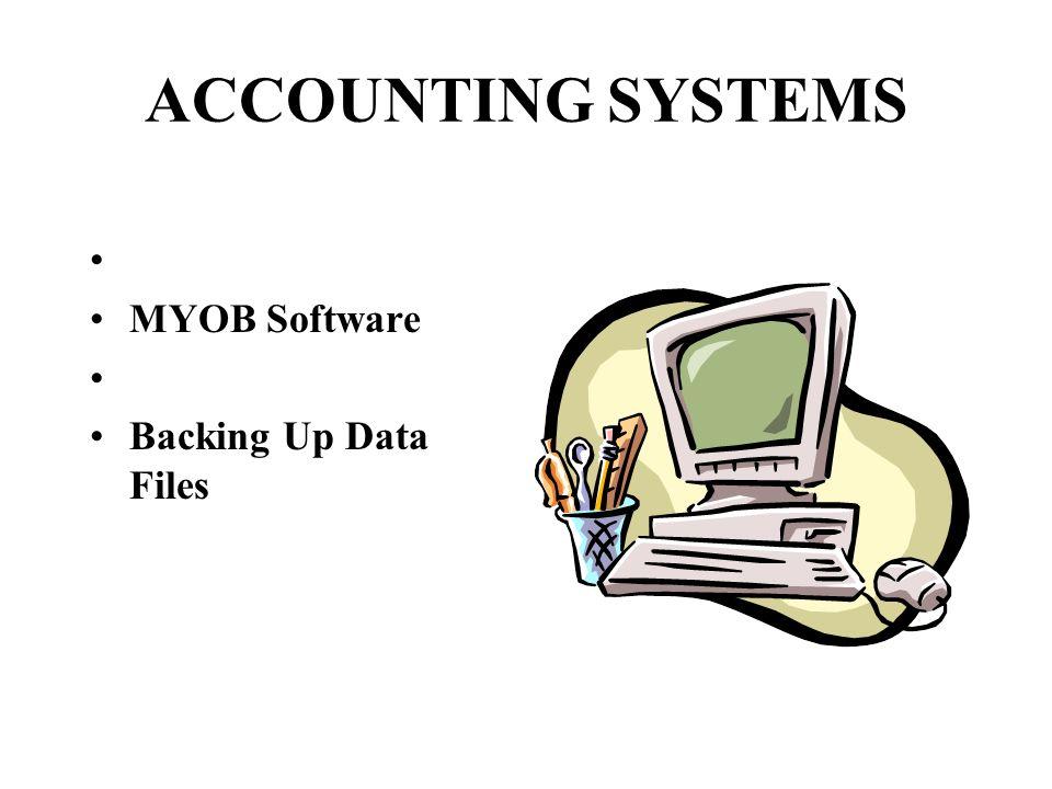 ACCOUNTING SYSTEMS MYOB Software Backing Up Data Files
