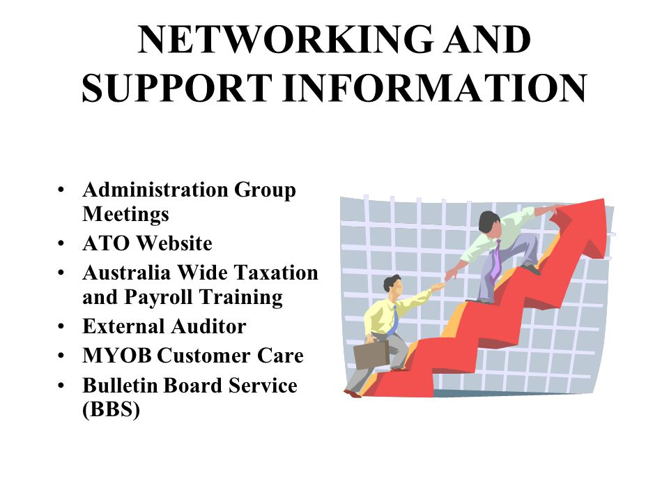 NETWORKING AND SUPPORT INFORMATION Administration Group Meetings ATO Website Australia Wide Taxation and Payroll Training External Auditor MYOB Customer Care Bulletin Board Service (BBS)