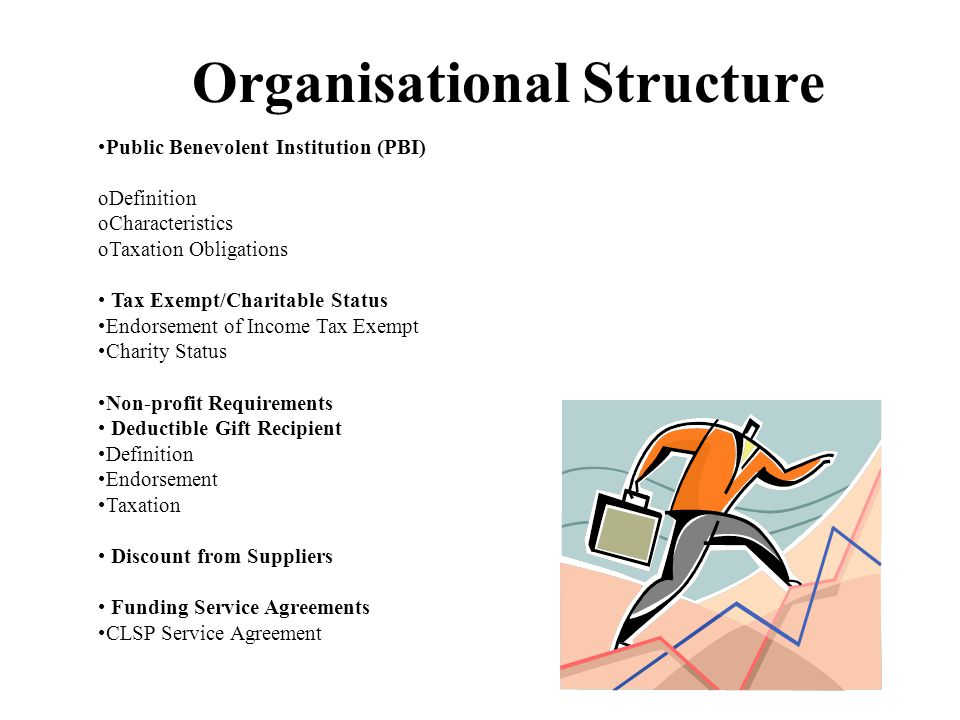 Organisational Structure Public Benevolent Institution (PBI) oDefinition oCharacteristics oTaxation Obligations Tax Exempt/Charitable Status Endorsement of Income Tax Exempt Charity Status Non-profit Requirements Deductible Gift Recipient Definition Endorsement Taxation Discount from Suppliers Funding Service Agreements CLSP Service Agreement