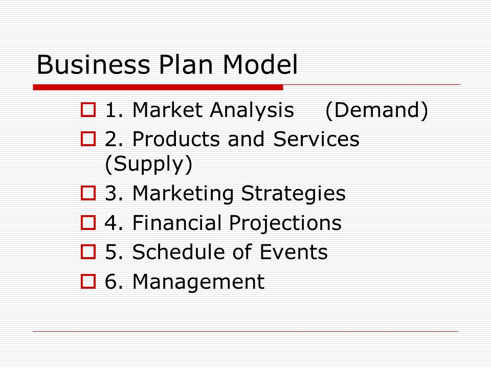 Business Plan Model  1. Market Analysis(Demand)  2. Products and Services (Supply)  3. Marketing Strategies  4. Financial Projections  5. Schedul