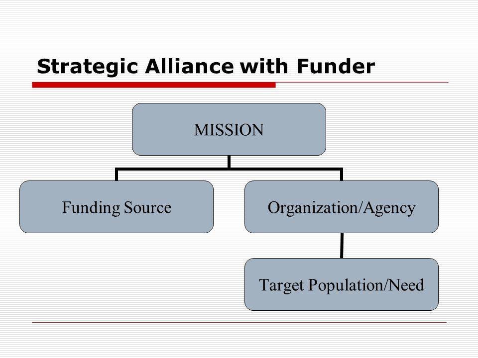 Strategic Alliance with Funder MISSION Funding SourceOrganization/Agency Target Population/Need