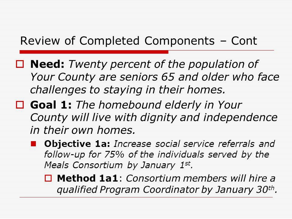 Review of Completed Components – Cont  Need: Twenty percent of the population of Your County are seniors 65 and older who face challenges to staying