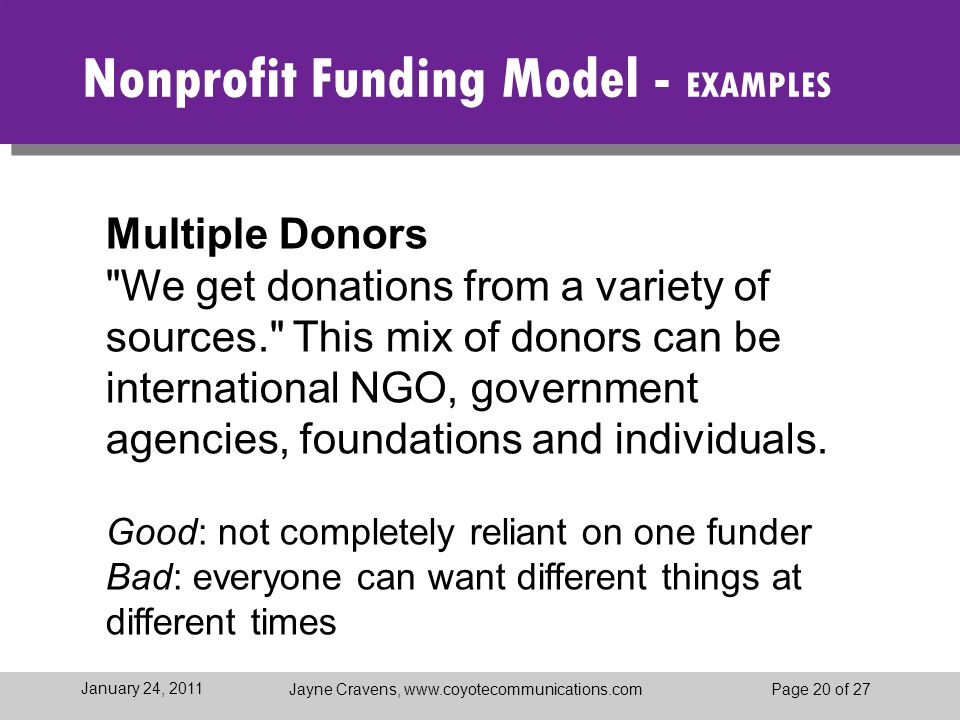 Jayne Cravens, www.coyotecommunications.comPage 20 of 27 January 24, 2011 Nonprofit Funding Model - EXAMPLES Multiple Donors