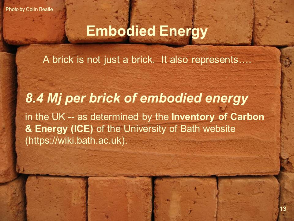 13 Mod 5 Ses 2 Embodied Energy A brick is not just a brick.