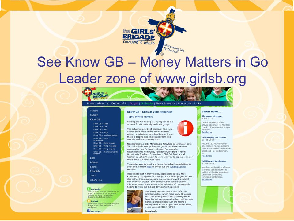 See Know GB – Money Matters in Go Leader zone of www.girlsb.org
