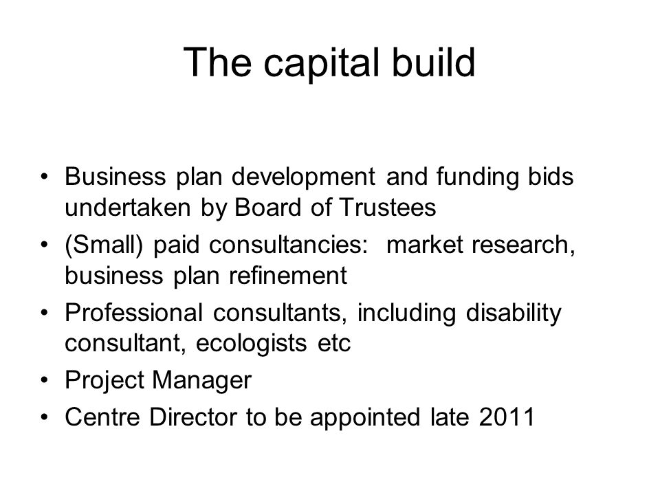 The capital build Business plan development and funding bids undertaken by Board of Trustees (Small) paid consultancies: market research, business pla