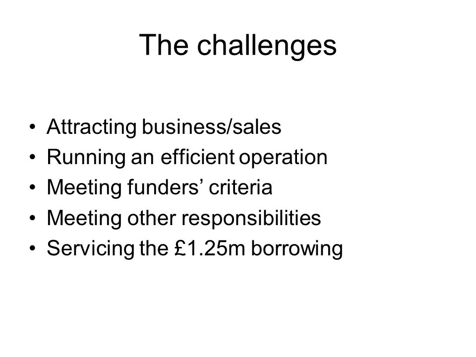 The challenges Attracting business/sales Running an efficient operation Meeting funders' criteria Meeting other responsibilities Servicing the £1.25m