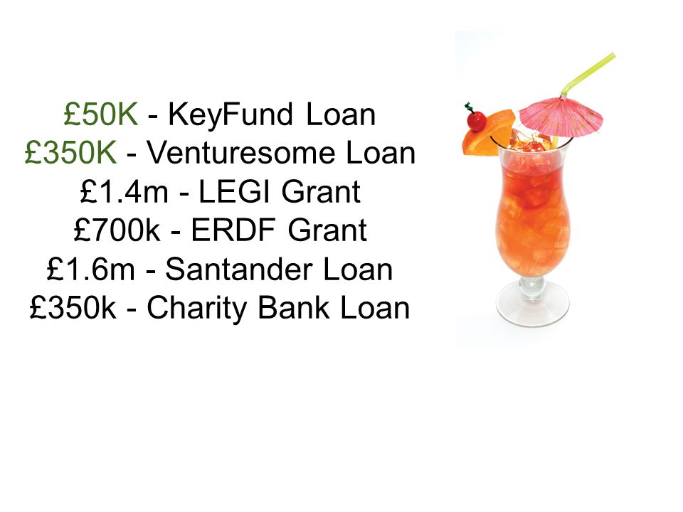 £50K - KeyFund Loan £350K - Venturesome Loan £1.4m - LEGI Grant £700k - ERDF Grant £1.6m - Santander Loan £350k - Charity Bank Loan