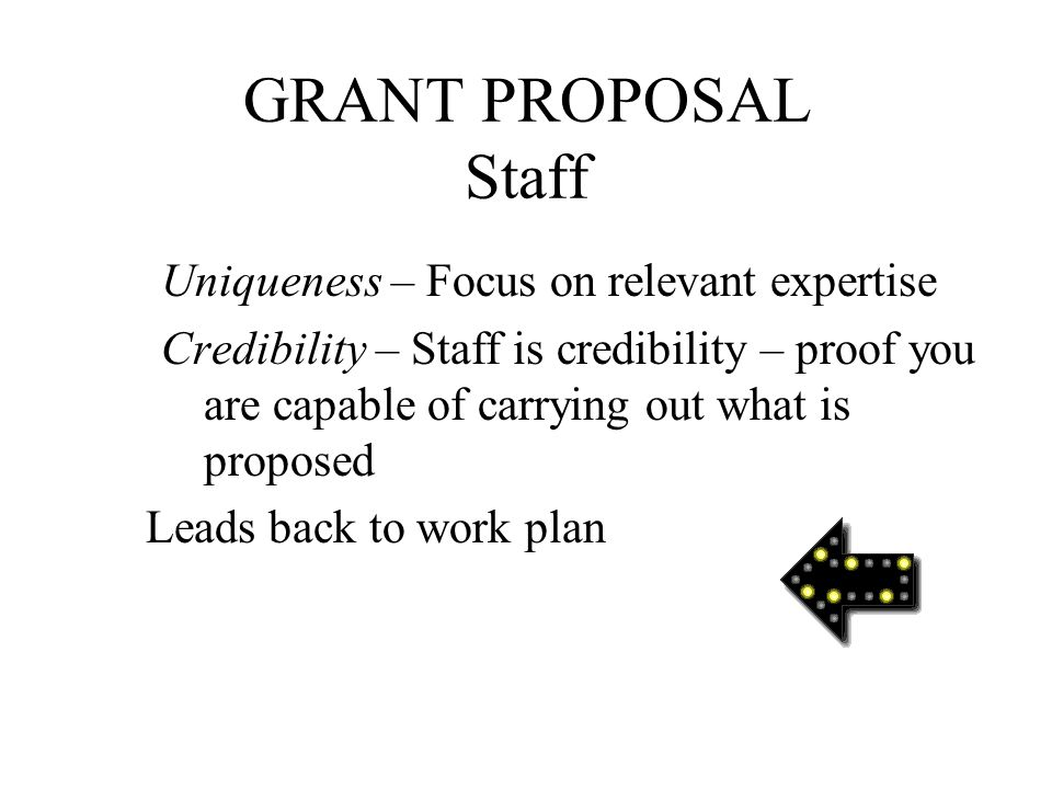 GRANT PROPOSAL Staff 8. Staff Staff (like flippers) steer the project Describe critical personnel qualifications 1. Current staff 2. Proposed staff 3.