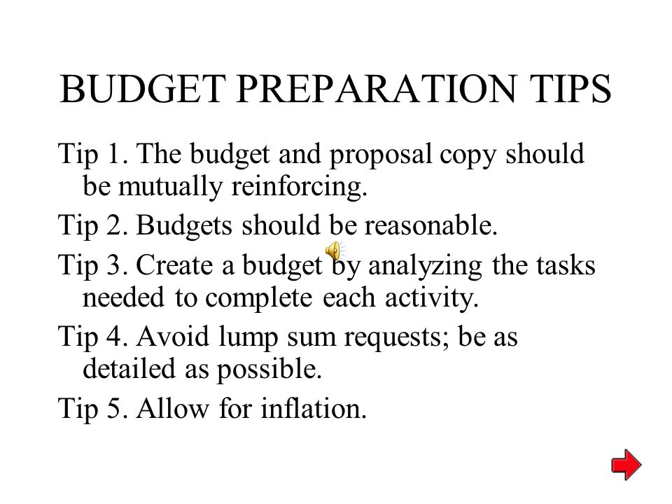 GRANT PROPOSAL Budget Uniqueness – Emphasize cost effective elements Credibility – Budget detail reflects depth of planning Leads back to action plan