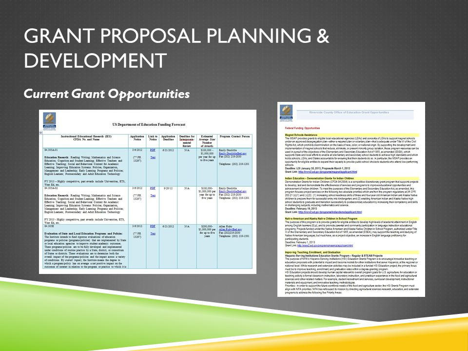 GRANT PROPOSAL PLANNING & DEVELOPMENT Current Grant Opportunities