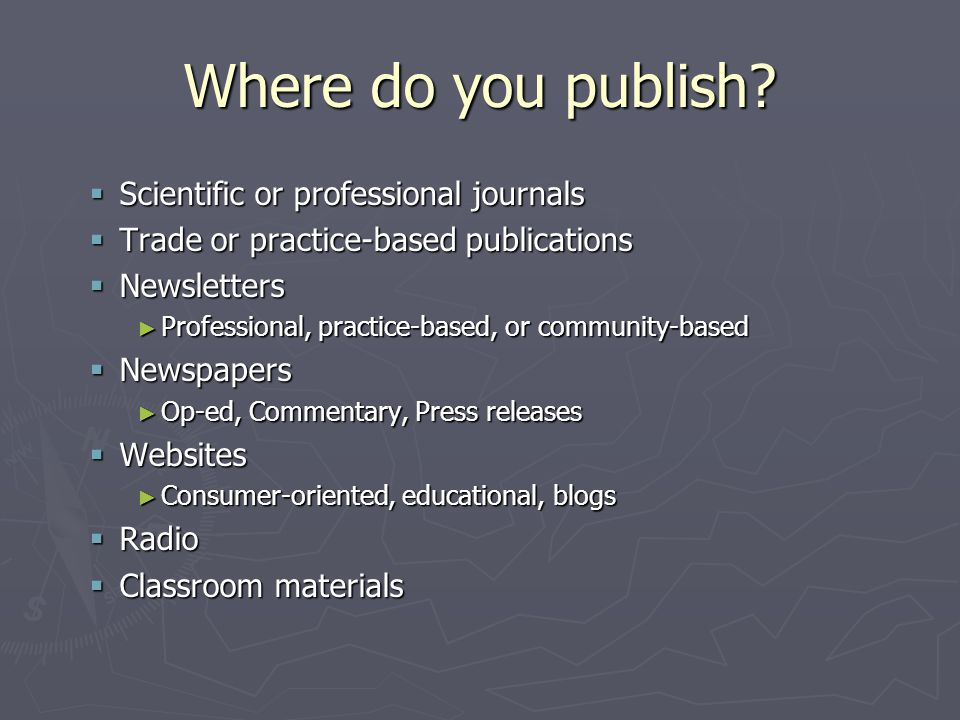 Where do you publish.