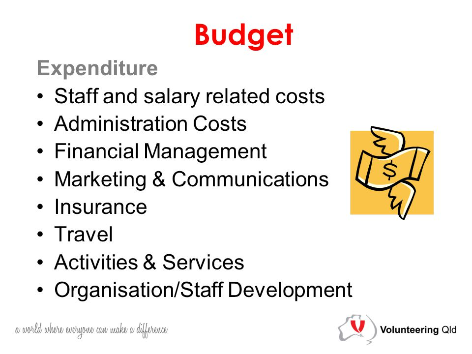 Budget Expenditure Staff and salary related costs Administration Costs Financial Management Marketing & Communications Insurance Travel Activities & Services Organisation/Staff Development