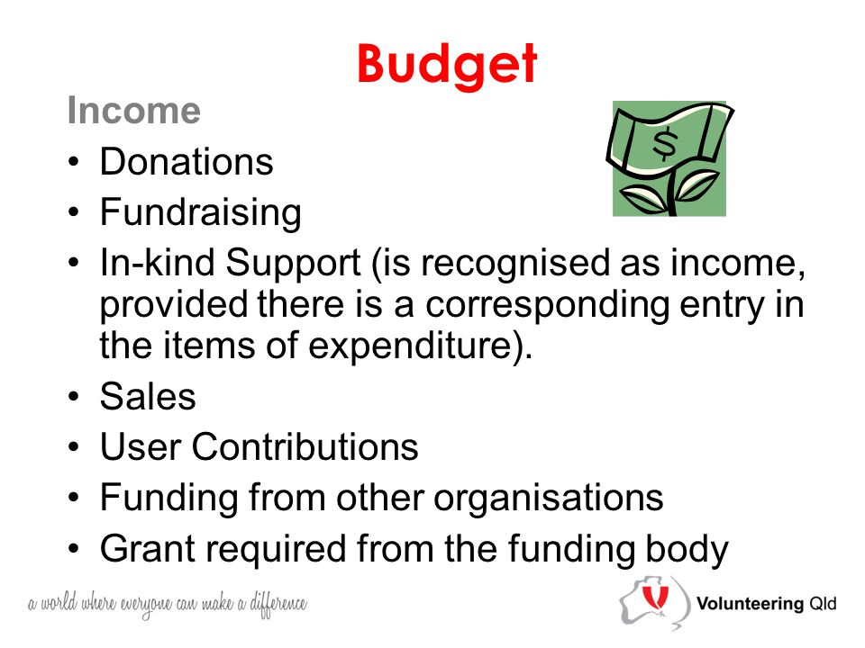 Budget Income Donations Fundraising In-kind Support (is recognised as income, provided there is a corresponding entry in the items of expenditure).