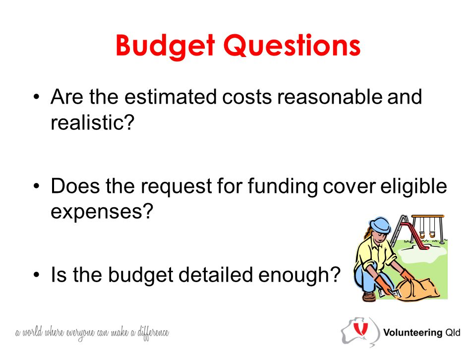 Budget Questions Are the estimated costs reasonable and realistic.