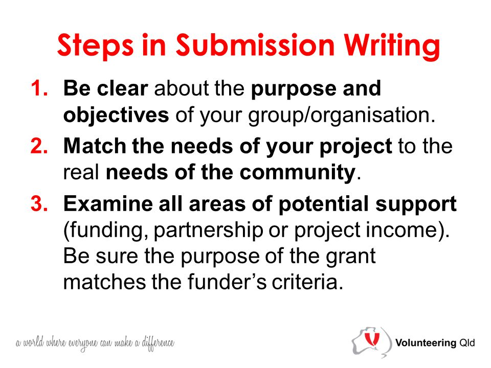 Steps in Submission Writing 1.Be clear about the purpose and objectives of your group/organisation.