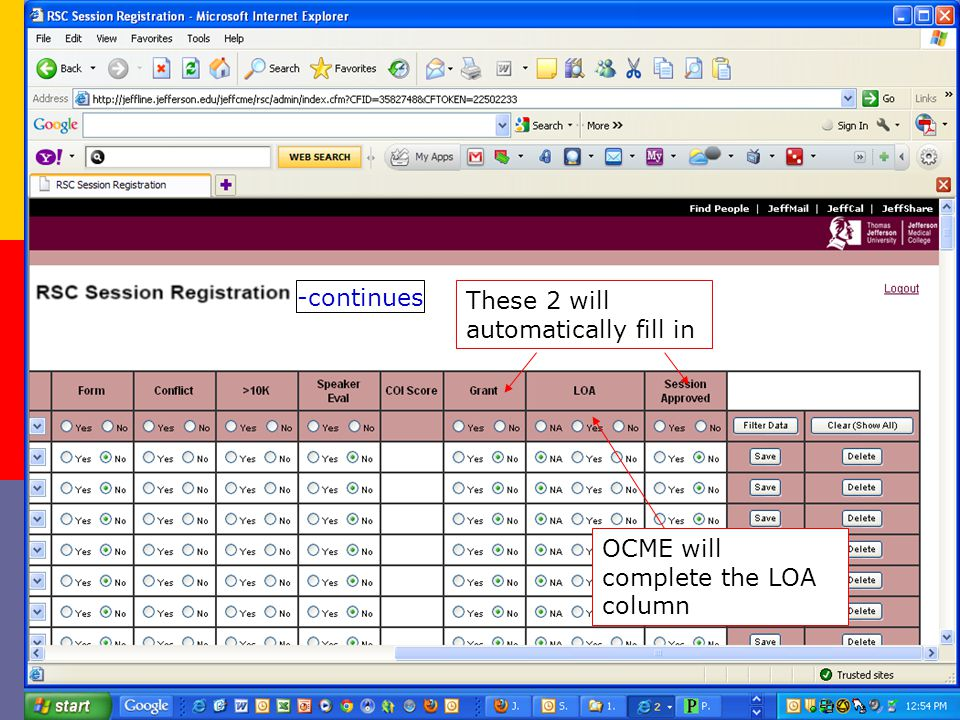-continues These 2 will automatically fill in OCME will complete the LOA column