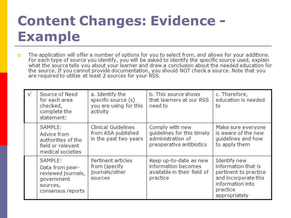 Content Changes: Evidence - Example  The application will offer a number of options for you to select from, and allows for your additions.