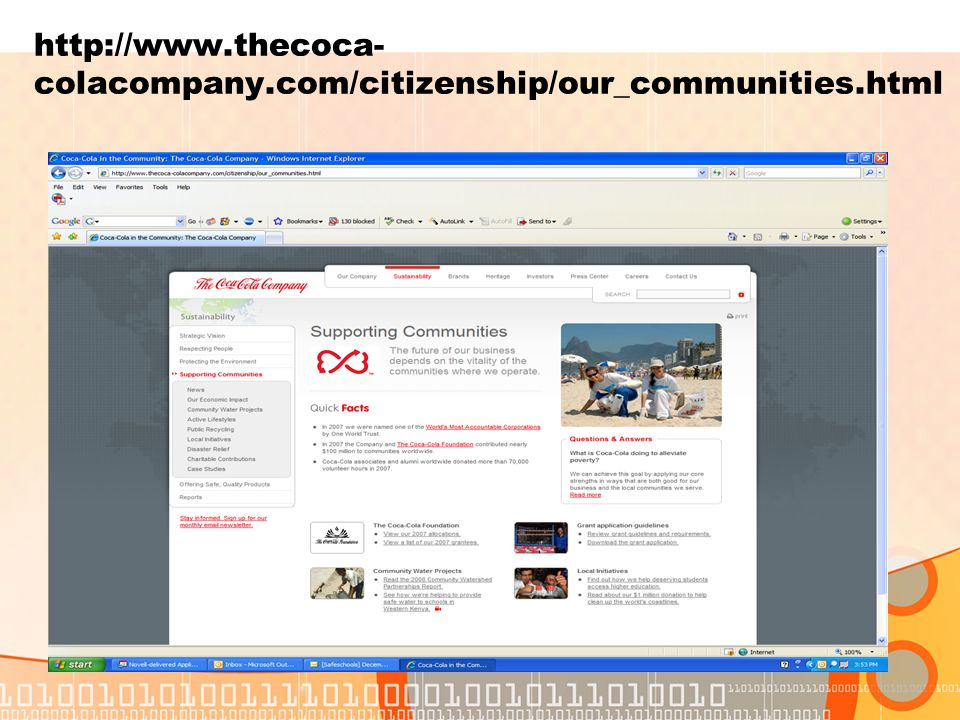 http://www.thecoca- colacompany.com/citizenship/our_communities.html