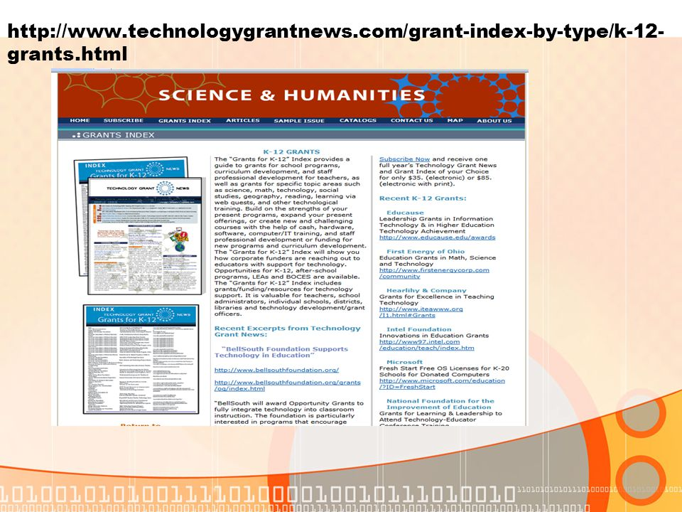 http://www.technologygrantnews.com/grant-index-by-type/k-12- grants.html