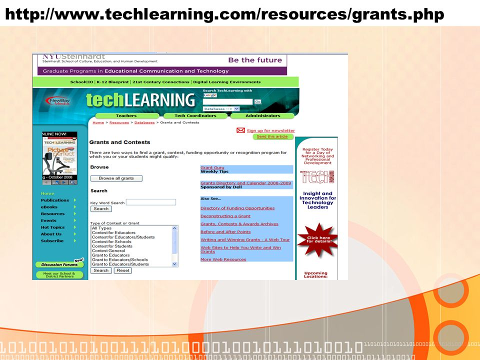 http://www.techlearning.com/resources/grants.php