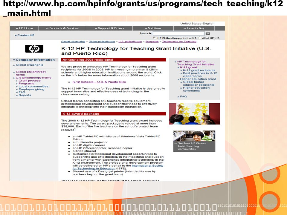 http://www.hp.com/hpinfo/grants/us/programs/tech_teaching/k12 _main.html