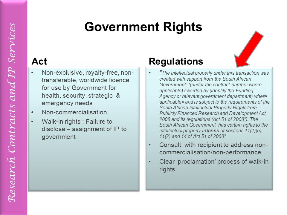 Research Contracts and IP Services Government Rights Act Non-exclusive, royalty-free, non- transferable, worldwide licence for use by Government for health, security, strategic & emergency needs Non-commercialisation Walk-in rights : Failure to disclose – assignment of IP to government Non-exclusive, royalty-free, non- transferable, worldwide licence for use by Government for health, security, strategic & emergency needs Non-commercialisation Walk-in rights : Failure to disclose – assignment of IP to government Regulations The intellectual properly under this transaction was created with support from the South African Government; ((under the contract number where applicable) awarded by (identify the Funding Agency or relevant government department) where applicable» and is subject to the requirements of the South African Intellectual Properly Rights from Publicly Financed Research and Development Act, 2008 and its regulations (Act 51 of 2008 ).