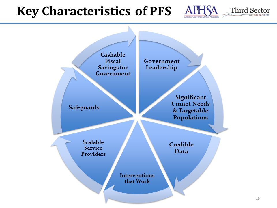Key Characteristics of PFS 28 Government Leadership Significant Unmet Needs & Targetable Populations Credible Data Interventions that Work Scalable Service Providers Safeguards Cashable Fiscal Savings for Government