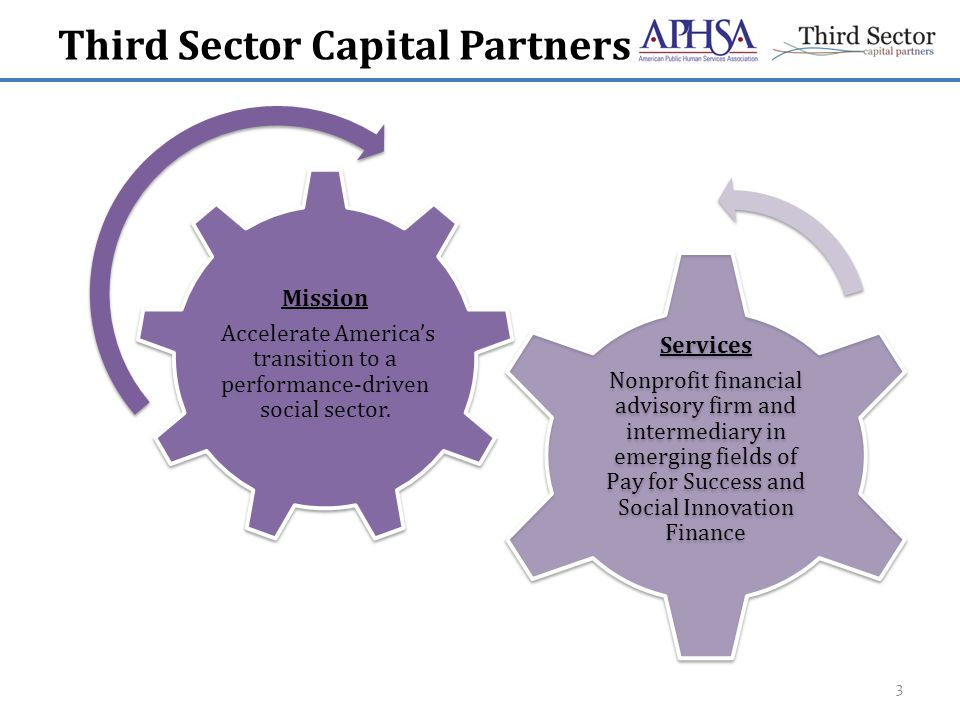 Third Sector Capital Partners Transaction Advisory Services Program Feasibility, Program Risk Evaluation and Partnership Formation Mission Accelerate America's transition to a performance-driven social sector.