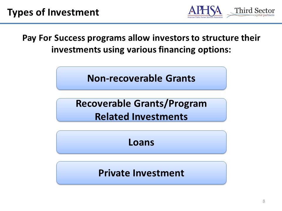 Types of Investment 8 Non-recoverable Grants Recoverable Grants/Program Related Investments Loans Private Investment Pay For Success programs allow investors to structure their investments using various financing options:
