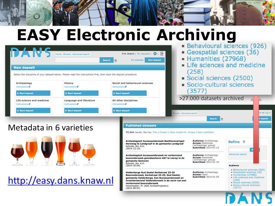 EASY Electronic Archiving System Metadata in 6 varieties >27.000 datasets archived http://easy.dans.knaw.nl