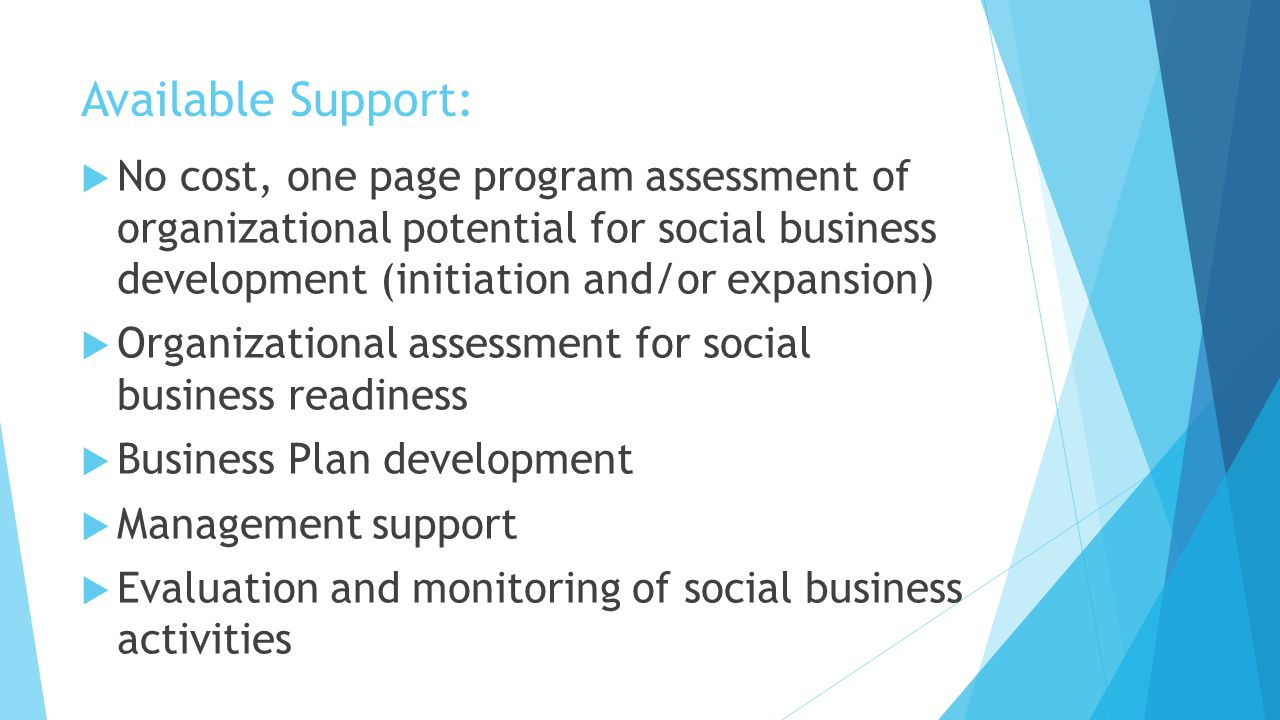 Available Support:  No cost, one page program assessment of organizational potential for social business development (initiation and/or expansion)  Organizational assessment for social business readiness  Business Plan development  Management support  Evaluation and monitoring of social business activities