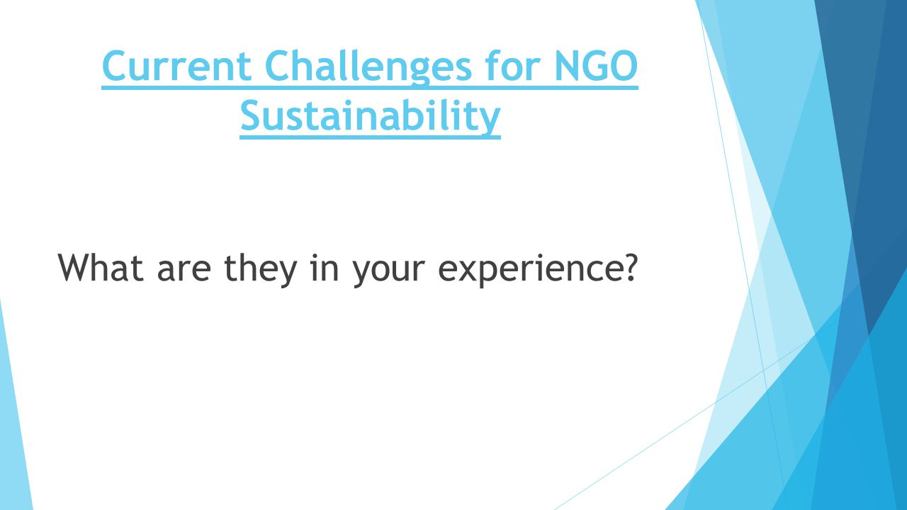 Current Challenges for NGO Sustainability What are they in your experience