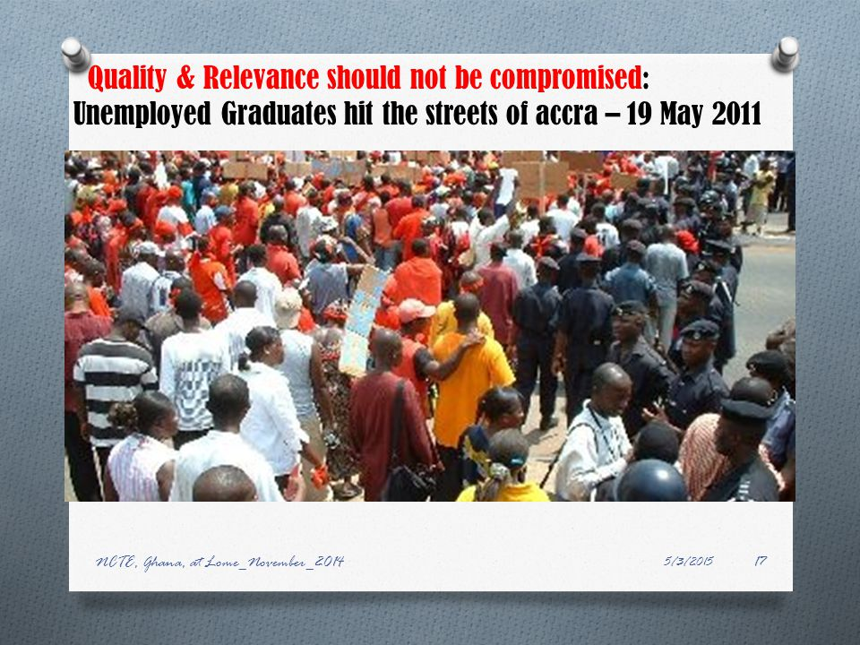 Quality & Relevance should not be compromised: Unemployed Graduates hit the streets of accra – 19 May 2011 5/3/2015 NCTE, Ghana, at Lome_November_201417