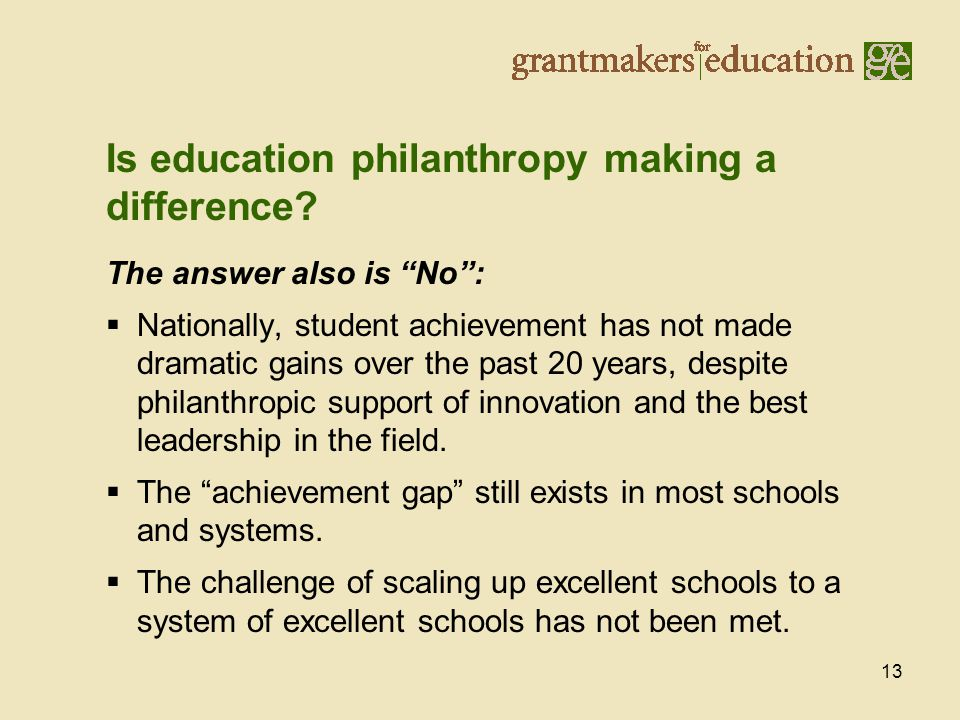 13 The answer also is No :  Nationally, student achievement has not made dramatic gains over the past 20 years, despite philanthropic support of innovation and the best leadership in the field.
