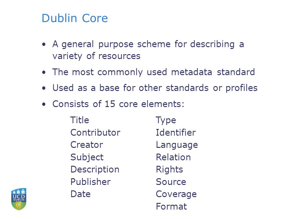 Dublin Core A general purpose scheme for describing a variety of resources The most commonly used metadata standard Used as a base for other standards or profiles Consists of 15 core elements: Title Contributor Creator Subject Description Publisher Date Type Identifier Language Relation Rights Source Coverage Format