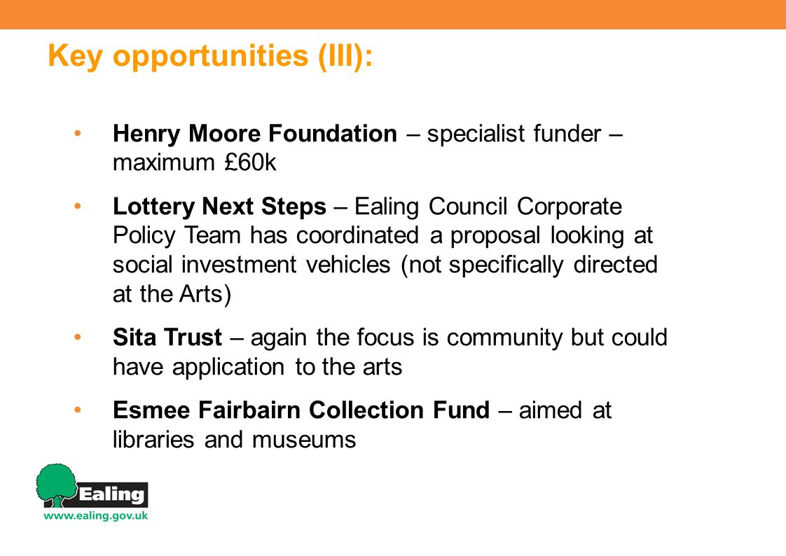 Key opportunities (III): Henry Moore Foundation – specialist funder – maximum £60k Lottery Next Steps – Ealing Council Corporate Policy Team has coordinated a proposal looking at social investment vehicles (not specifically directed at the Arts) Sita Trust – again the focus is community but could have application to the arts Esmee Fairbairn Collection Fund – aimed at libraries and museums