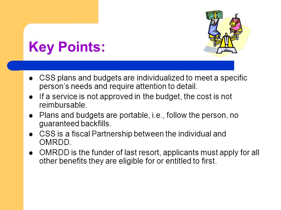 Key Points: CSS plans and budgets are individualized to meet a specific person's needs and require attention to detail.