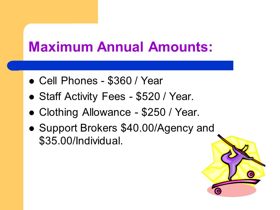 Maximum Annual Amounts: Cell Phones - $360 / Year Staff Activity Fees - $520 / Year.