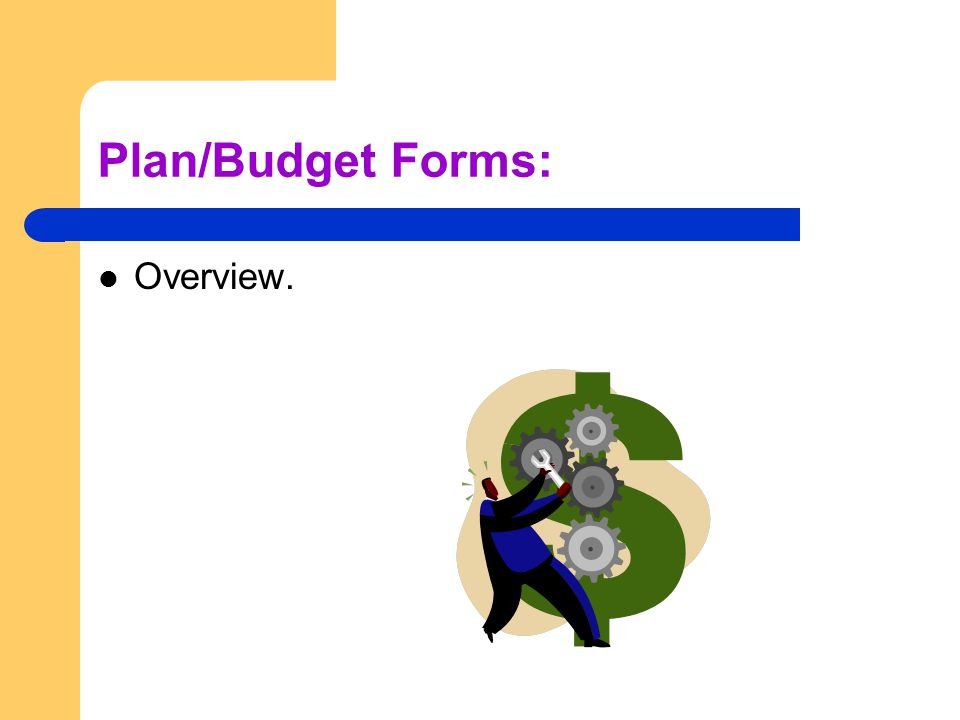 Plan/Budget Forms: Overview.