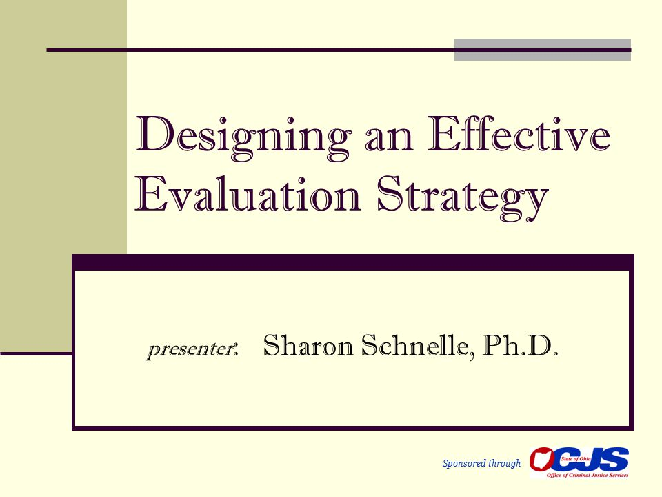 Designing an Effective Evaluation Strategy presenter : Sharon Schnelle, Ph.D. Sponsored through