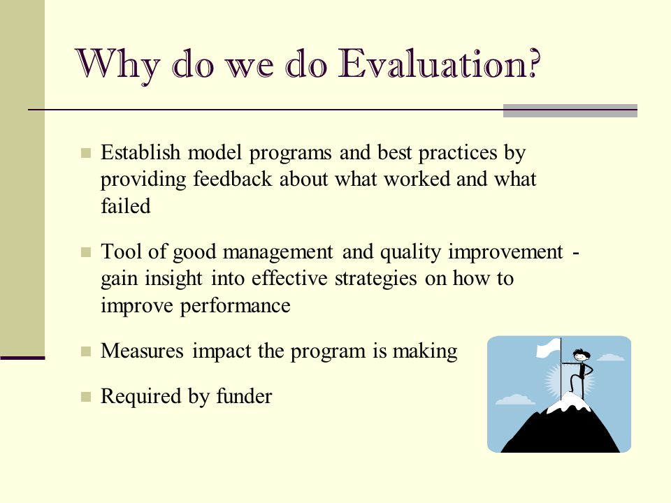 Planning Evaluation Why is the program needed.