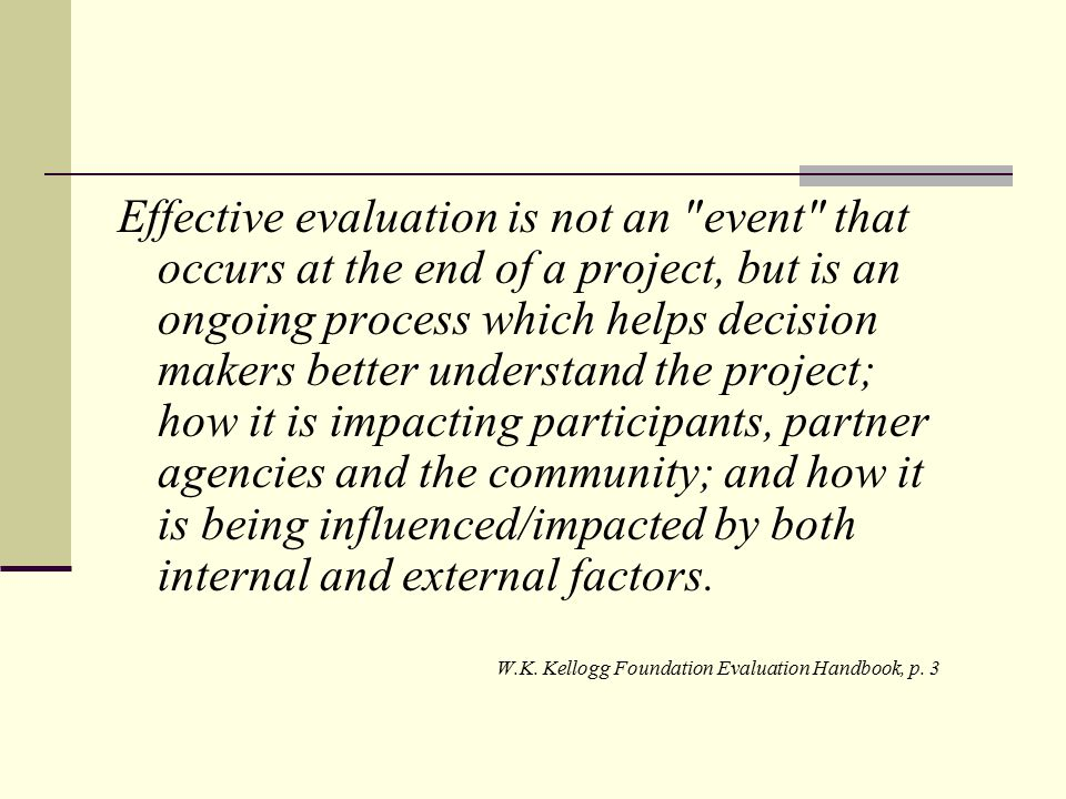 Key Domains in Evaluation Focus Implementation (Process) Is program in place as intended.