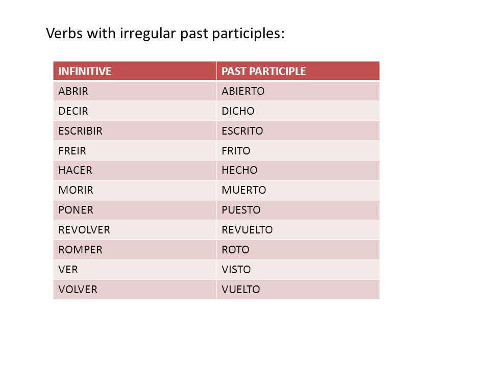 INFINITIVEPAST PARTICIPLE ABRIRABIERTO DECIRDICHO ESCRIBIRESCRITO FREIRFRITO HACERHECHO MORIRMUERTO PONERPUESTO REVOLVERREVUELTO ROMPERROTO VERVISTO VOLVERVUELTO Verbs with irregular past participles: