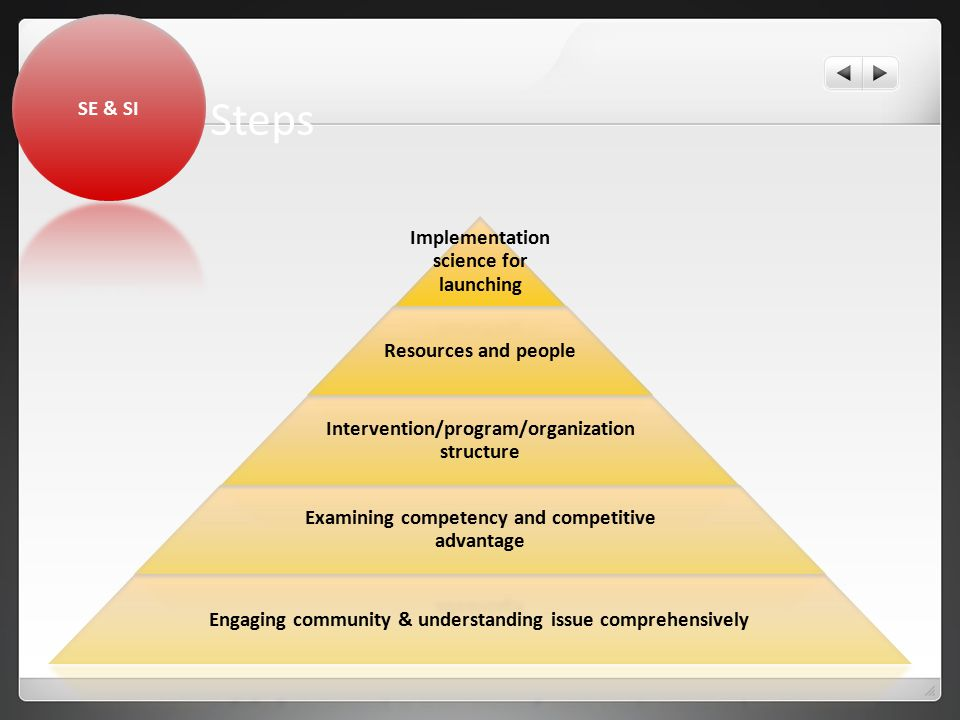 Steps Implementation science for launching Resources and people Intervention/program/organization structure Examining competency and competitive advantage Engaging community & understanding issue comprehensively