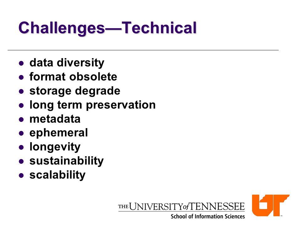 Challenges—Technical data diversity format obsolete storage degrade long term preservation metadata ephemeral longevity sustainability scalability