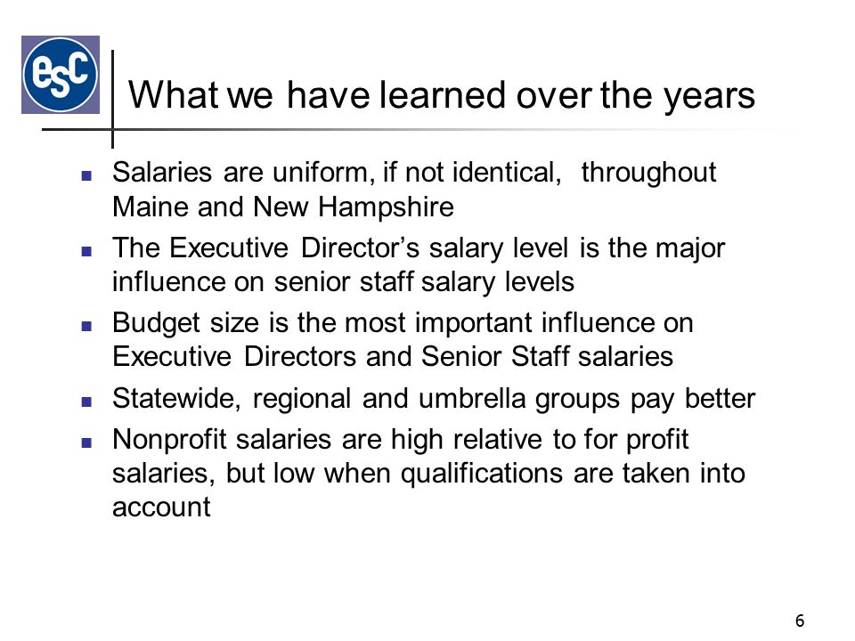 5 History of the Survey Started in 1997 ESC joined MANP for the 1999 Survey ESC and NH Center for Nonprofits did 2005 NH Survey NH joined Maine in 2006 – Moved to Online Survey