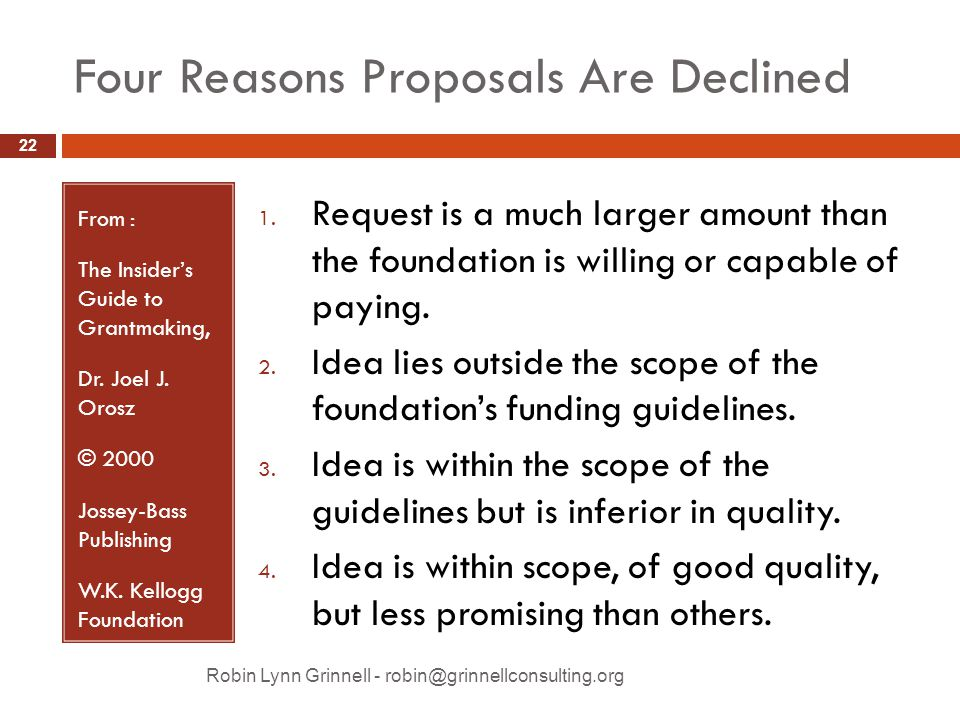Four Reasons Proposals Are Declined From : The Insider's Guide to Grantmaking, Dr.