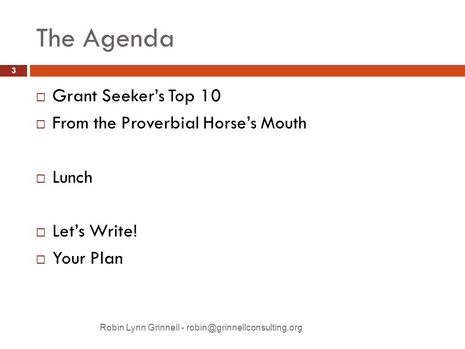The Agenda Robin Lynn Grinnell - robin@grinnellconsulting.org  Grant Seeker's Top 10  From the Proverbial Horse's Mouth  Lunch  Let's Write.