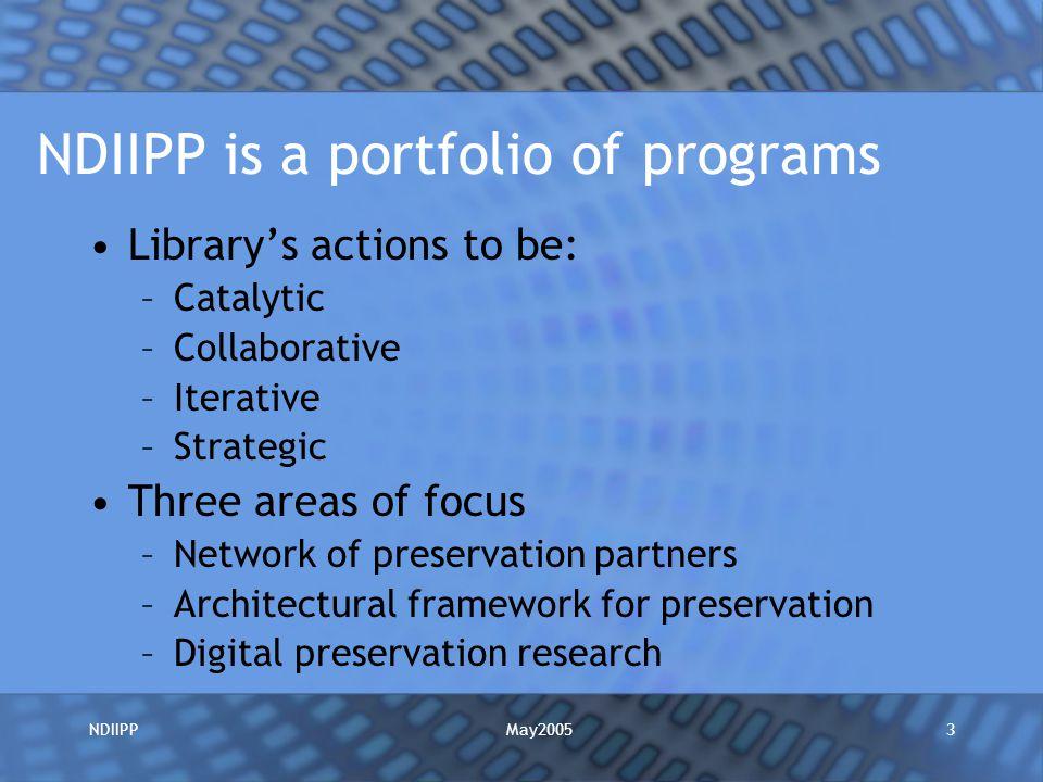 May2005NDIIPP14 For More Information NDIIPP –http://www.digitalpreservation.gov/http://www.digitalpreservation.gov/ Caroline R.